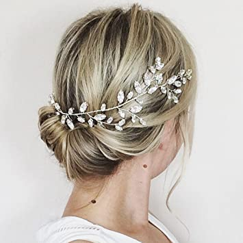 Aukmla Swarovski Crystal Hair Vine Wedding