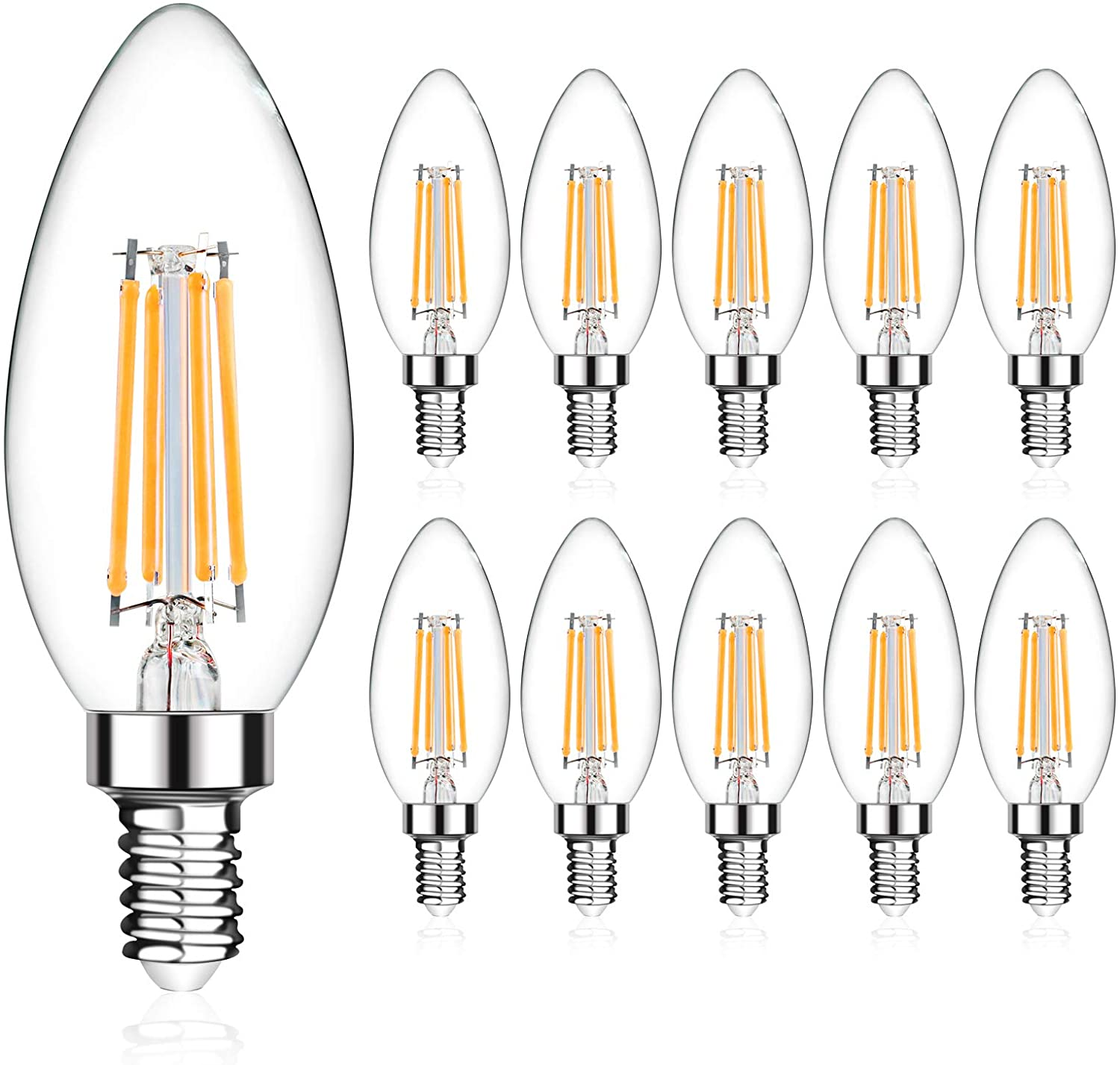 LANGREE E12 LED Candelabra Base Bulbs 60W Equivalent, 5W LED Candle Light Bulbs, LED Chandelier Light Bulbs, Non-Dimmable, 2700K Soft White, 550LM - Pack of 10