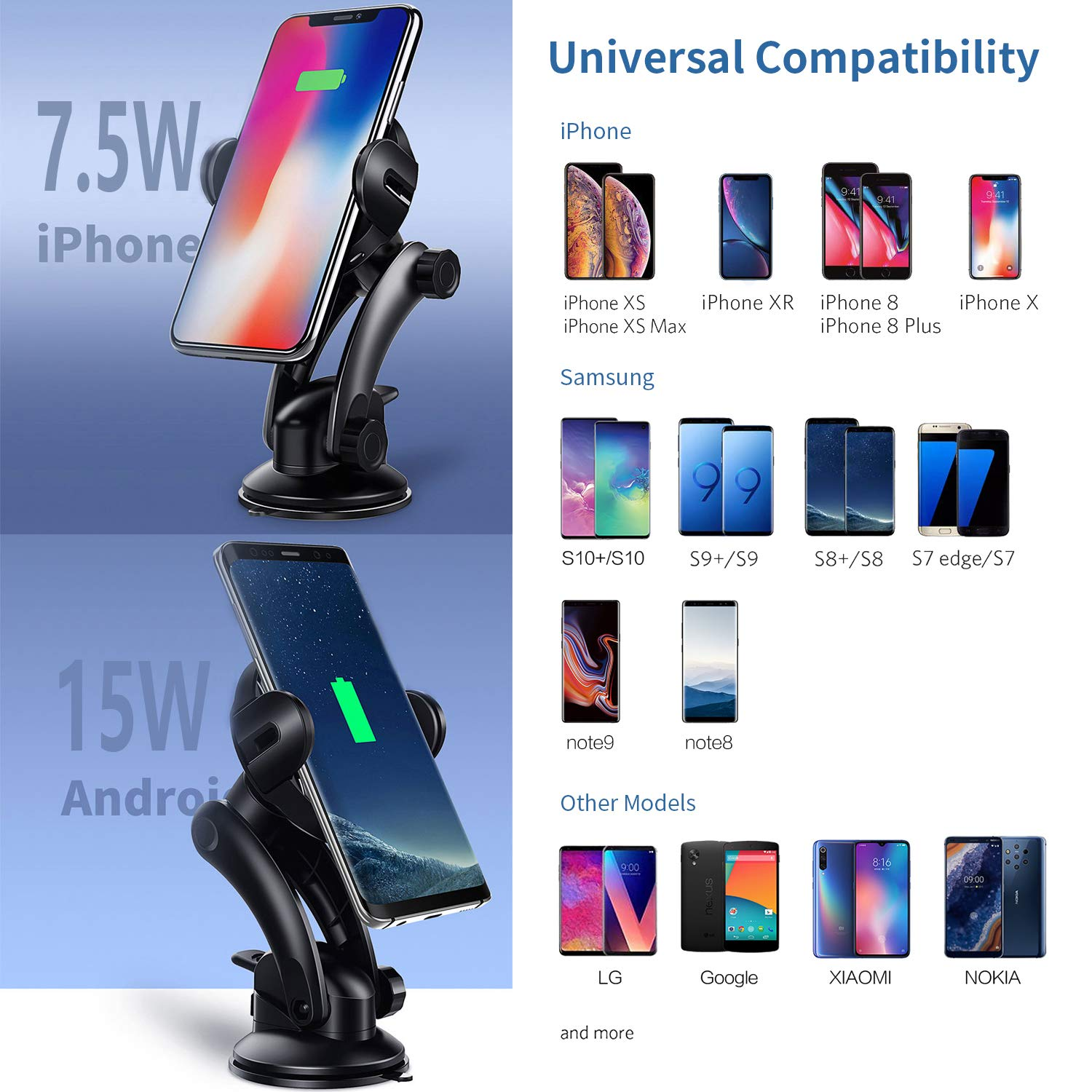 KOAKUMA Wireless Car Charger Mount, Automatic Clamping Car Mount Air Vent Phone Holder with 15W QI Fast Charging Compatible with iPhone X/XS Max/XS/XR/8/8 Plus, Samsung Galaxy S10/S10+/S9/S9+/Note 9/8 by KOAKUMA (Image #4)