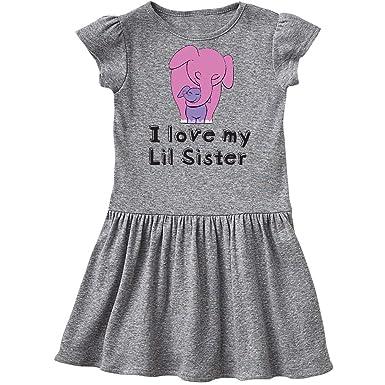 a62f3f5cae96 inktastic - I Love My Lil Sister Infant Dress 6 Months Heather Grey 26d04