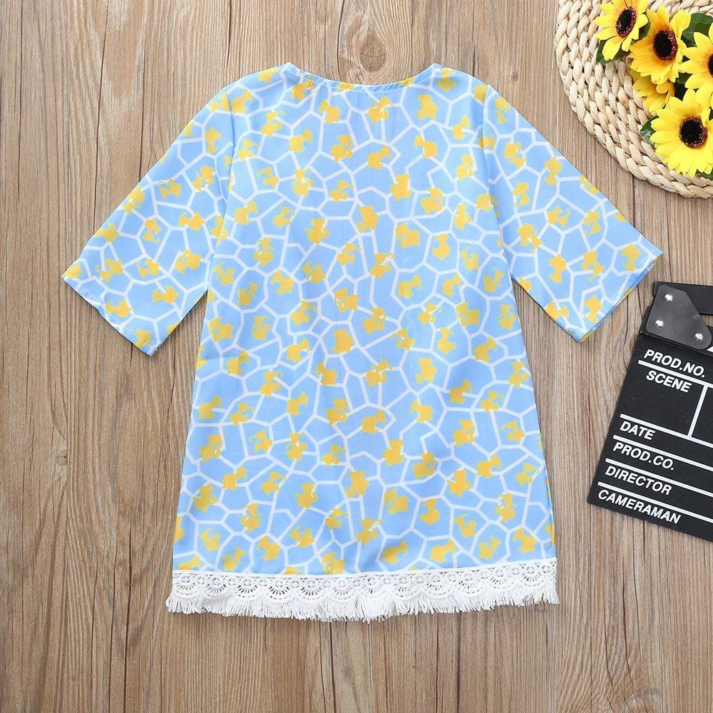 Lifestyler Fashion Kid Girls Flower Printing Shawl Kimono Cardigan Tops Family Outfits Clothes