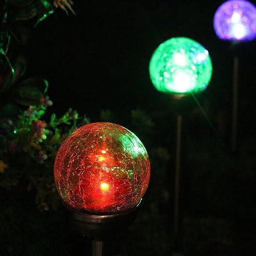 4 Pack Luz Solar Exterior Jardin Decoracion, LED de Cambia Color Diseño de Bola de Vidrio de Crackle para Jardín, Patio, Terraza, Navidad de NORDSD: Amazon.es: Iluminación