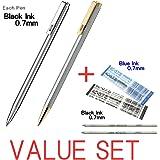 Zebra Mini stylo à bille d'encre noire/0.7mm/T-3(Argent Corps) et T-5(Silver + Gold Corps) chaque 1pen + 2recharges d'encre (1BLACK & 1blue d'encre) Value Set/avec notre magasin Produit original description