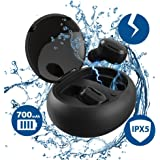 True Wireless Earbuds - Aeifond Bluetooth Headphones Wireless Sports Earphones Waterproof HD Stereo Earbuds Noise Cancelling Headsets with Built-in Mic Charging Case for iPhone iPad Samsung LG (Black)