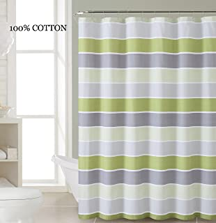 Amazon.com: Fabric Shower Curtain: Stripe Design (Lime Green Gray ...