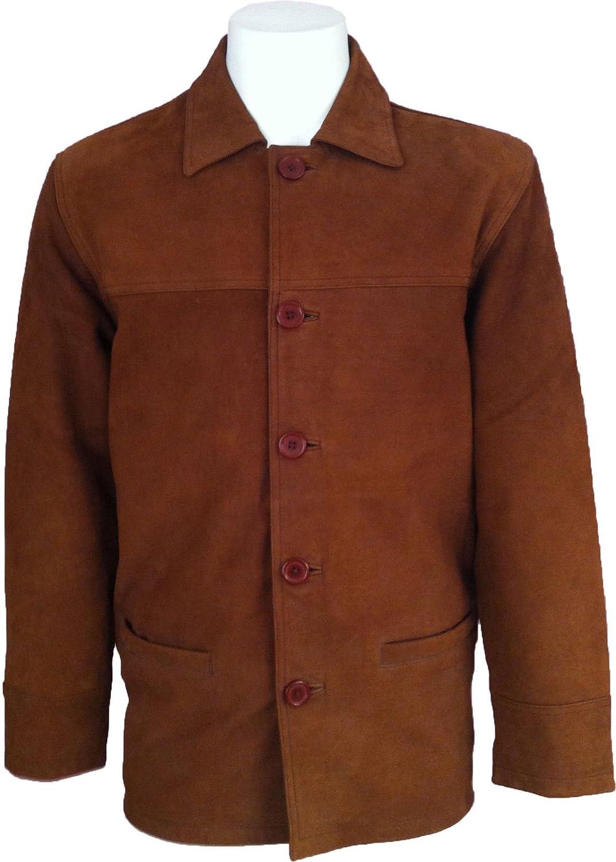 UNICORN Mens Classic Box Coat - Real Leather Jacket - Tan Nubuck #I7