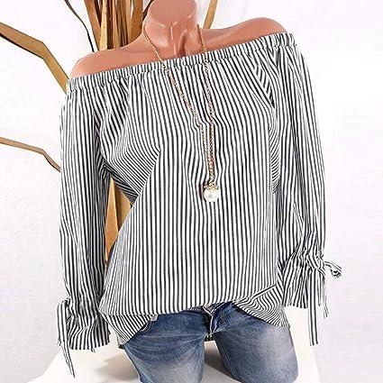 98b7da8d17f64 Image Unavailable. Image not available for. Color  Women Blouse Daoroka  Plus Size Long Sleeve Off Shoulder Stripe Tops Fashion Autumn Shirts