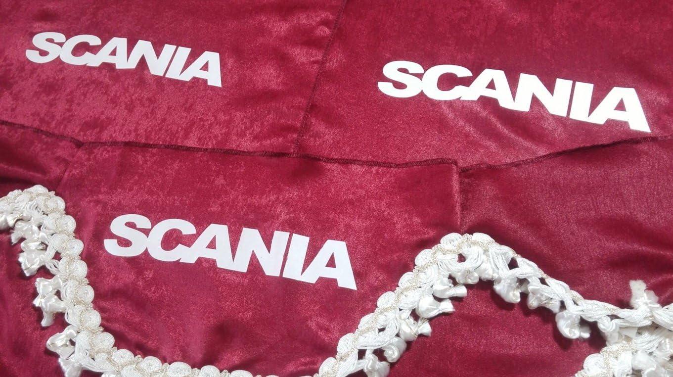 3 Teilig Set Rot Gardinen Mit Weiß Bommeln Universal GrÖsse Für Scania Alle Modelle Lkw Zubehör Dekoration Innenraum Vorhänge Plüsch Stoff Auto