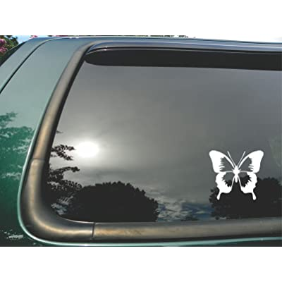 "Butterfly- Die Cut white Vinyl Window Decal/sticker for Car or Truck 5""x5.5"": Automotive"