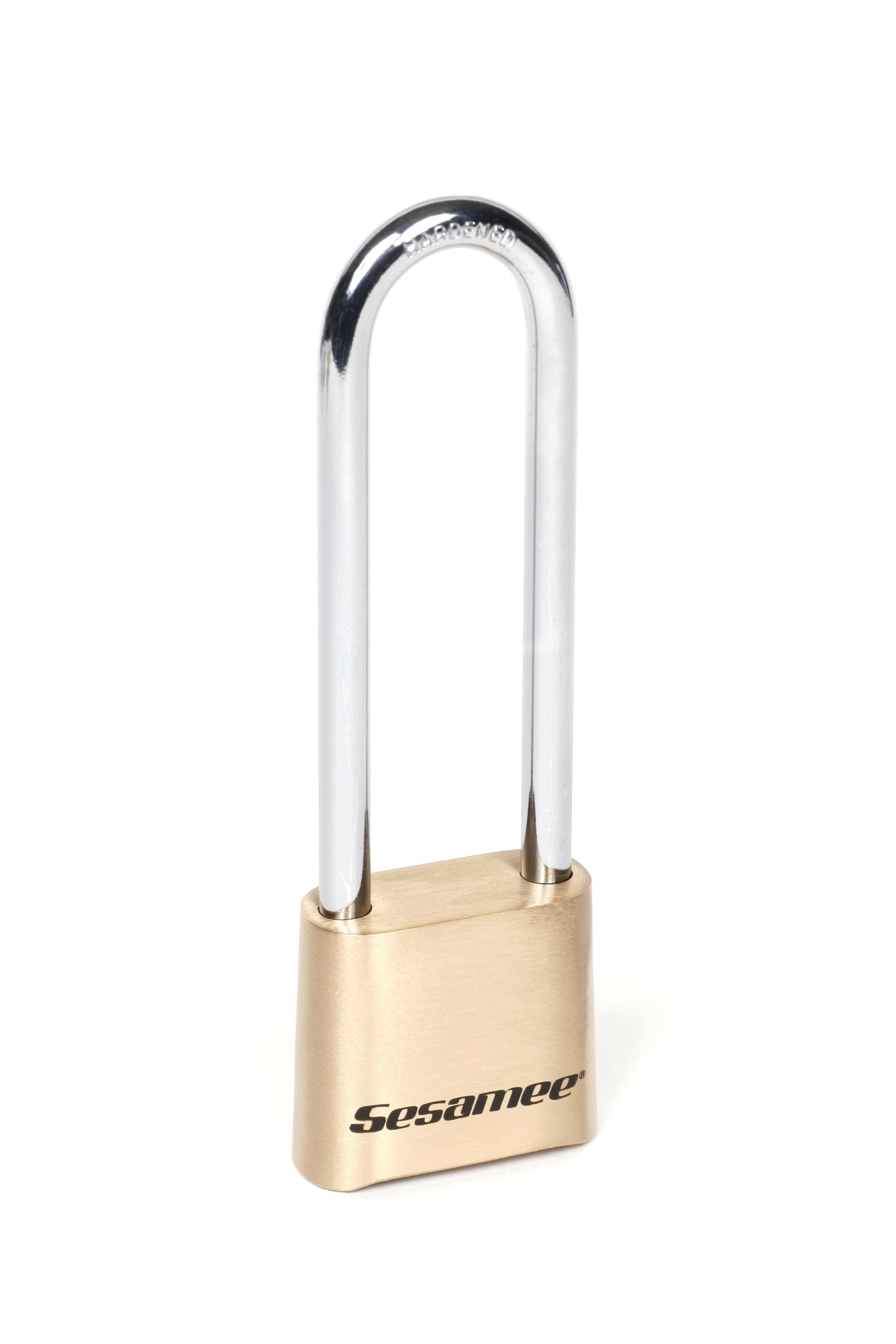 Sesamee K440 4 Dial Bottom Resettable Combination Brass Padlock with 4-Inch Hardened Steel Shackle and 10,000 Potential Combinations