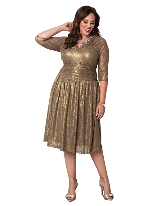 4204e8e9cee Kiyonna Women s Plus Size Limited Edition Metallic Maven Lace Dress 4X  Maple Shimmer