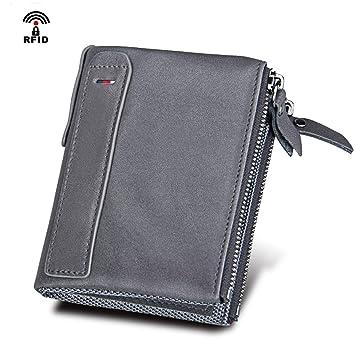 9c9a75a5b3 Coopay Portefeuille Hommes en Cuir Véritable, Porte Monnaie Homme RFID  Blocage Zipper Pochette avec Poche