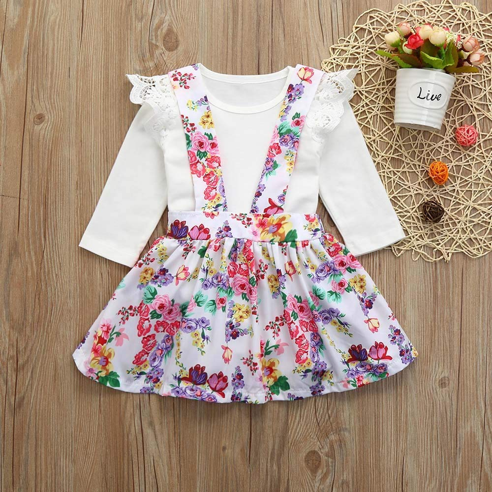 Winter Girl Outfits,Fineser Adorable Newborn Infant Baby Girls Long Sleeve Tops Romper+Floral Skirt Outfits 2 Set Clothes