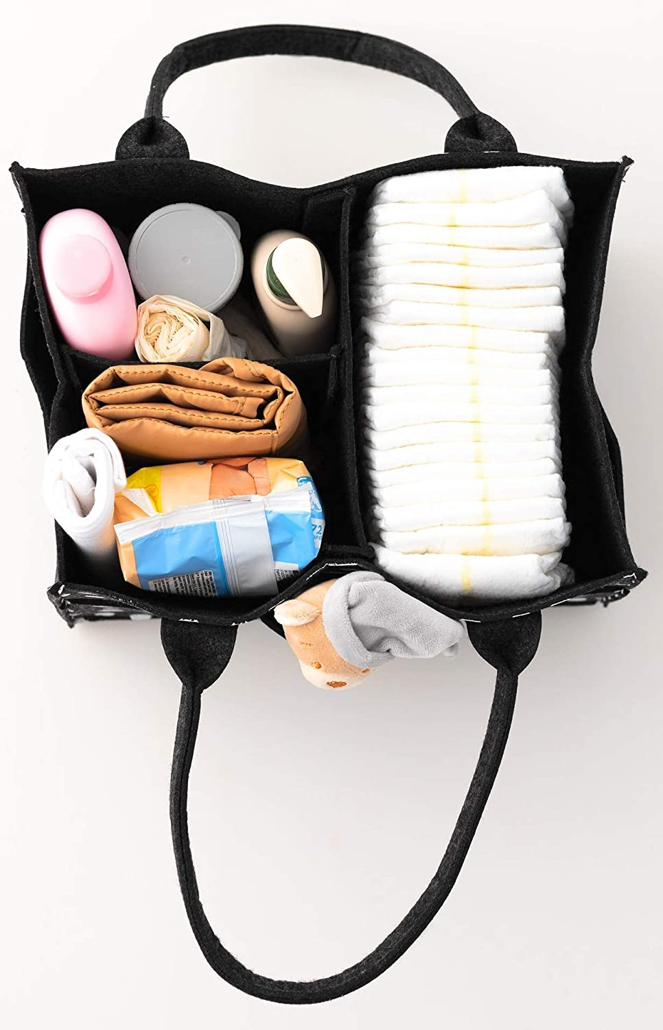 Portable Diaper Storage Basket Nappy Caddy Organiser Several Compartments