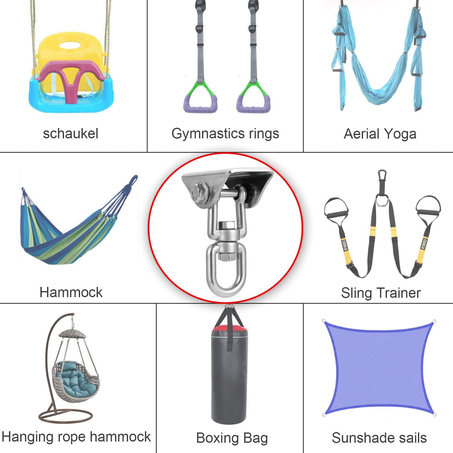 MDAIRC Heavy Duty Stainless Steel Hanging Kit Swing Hangers and Hammock Spring and Swing Swivel Spinner Kglobal Swivel Hook for Wooden Sets,tire Swing Swivel Seat Trapeze Yoga