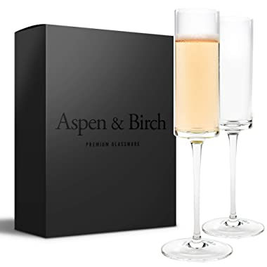 Aspen & Birch   Modern Champagne Flutes Set of 6   Champagne Glasses   Mimosa Glasses   Hand Blown Glass Champagne Flutes   Clear   6oz   100% Lead Free Crystal Stemware  