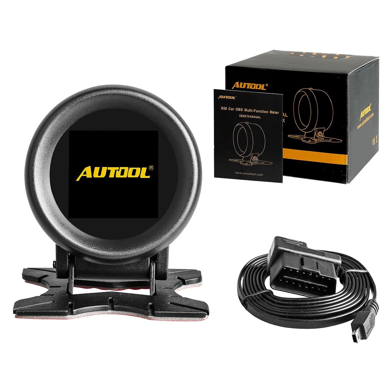 Autool X60/Auto OBD GPS HUD Multi-Funzione Digitale misuratore di Allarme velocit/à Water-Temp Gauge Malfunction-Test per 12/V OBD-II Standard Automotive a Display HUD