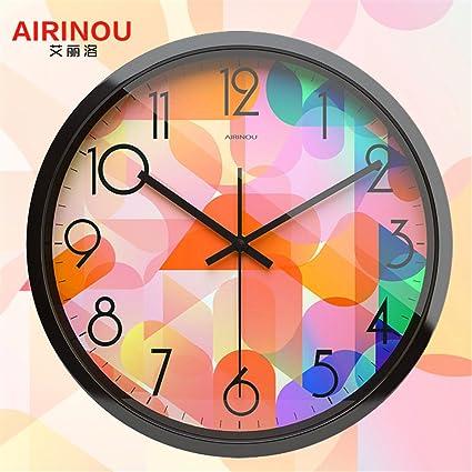 DIDADI Wall Clock Reloj de Pared Relojes Personalizados Dibujo Creativo Moderno Dormitorio Silencio Minimalista Restaurante Reloj
