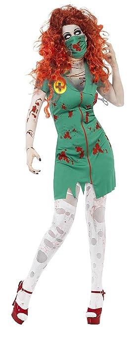 Smiffys-24373M Halloween Disfraz de Enfermera Zombi, con Vestido ...