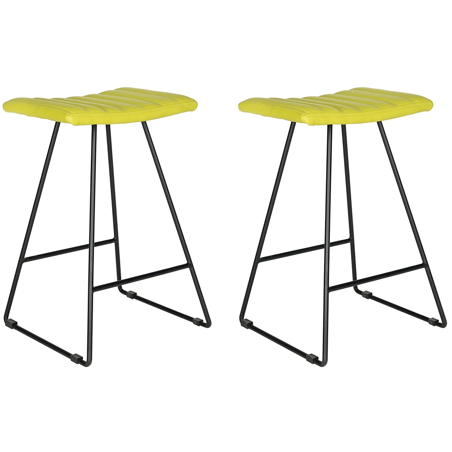 Safavieh Home Collection Akito Mid-Century Modern Green 26-inch Counter Stool Set of 2