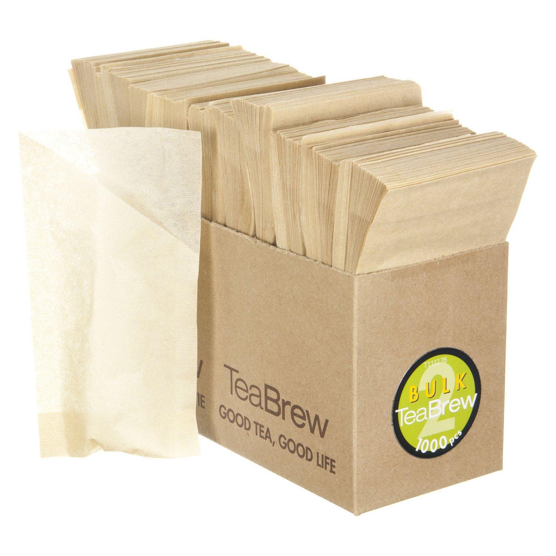 Tea Brew 1000-Piece No. 2 Bulk Pack Single Use Tea Filter, Two 3-Cup Teapot