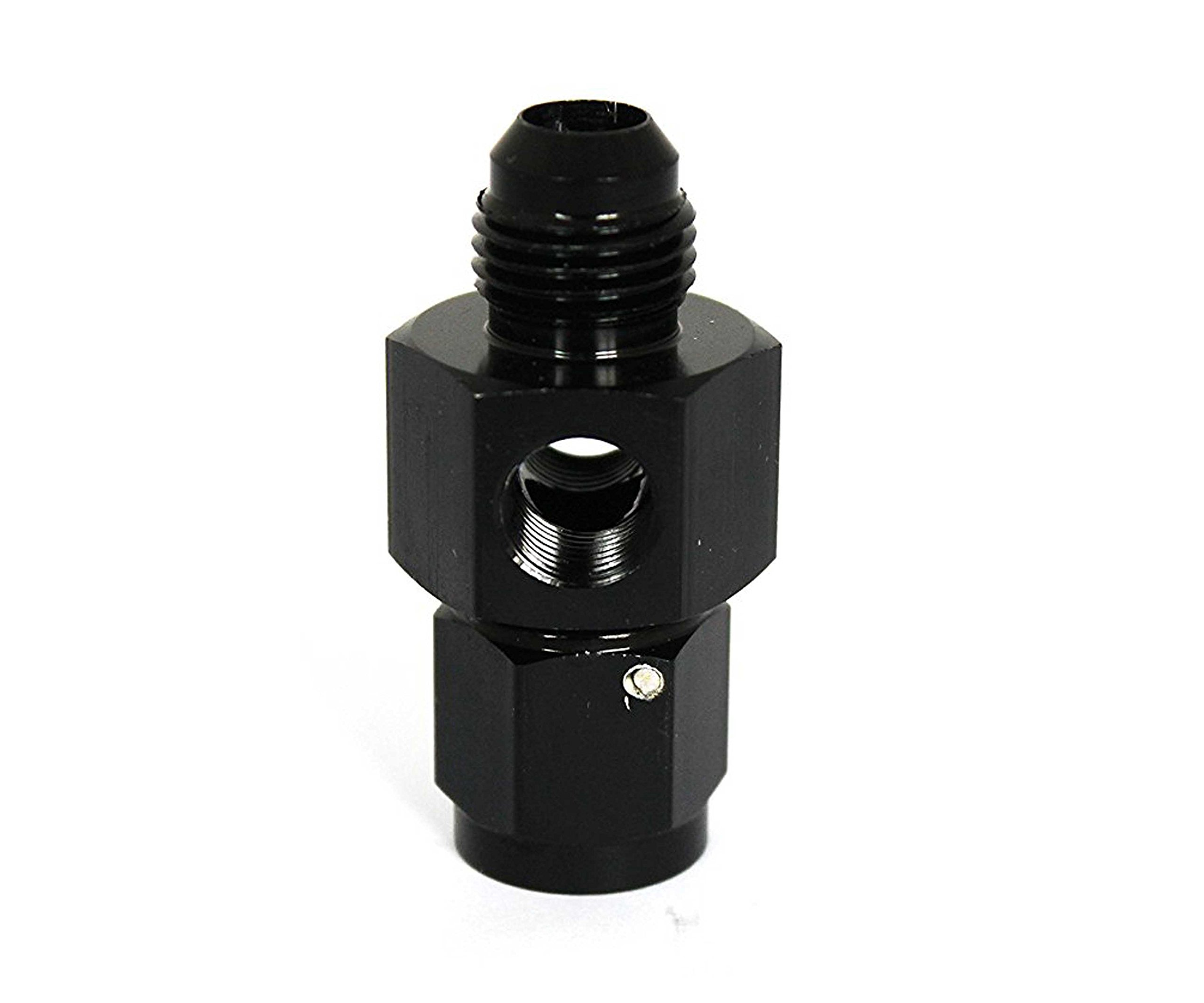 Dracary Nitrous Adapter With Two 1/8'' NPT Ports For Gauge Paurge -4 AN Male To -4 AN Female Black (4AN)