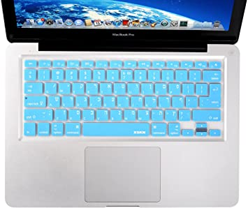 XSKN Hebrew Language Silicone Keyboard Skin Cover for MacBook Air 13 /& MacBook Pro 13 15 17 with or Without Retina Display US//European ISO Keyboard Blue