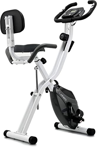 Lanos Folding Exercise Bike with 10-Level Adjustable Magnetic Resistance Upright and Recumbent Foldable Stationary Bike is The Perfect Workout Bike for Home Use for Men, Women, and Seniors