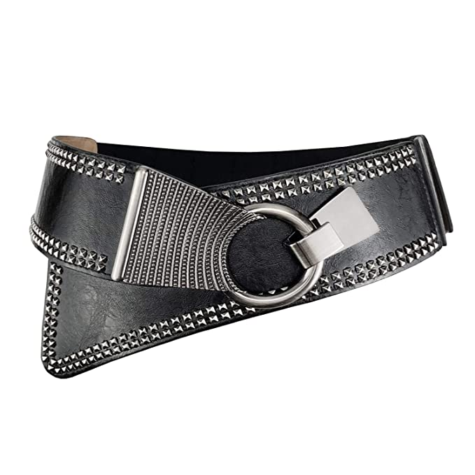 f7dc7683916 Women s Fashion Vintage Wide Waist Belt Elastic Steampunk Corset Belts  Cinch With Interlock Buckle Black
