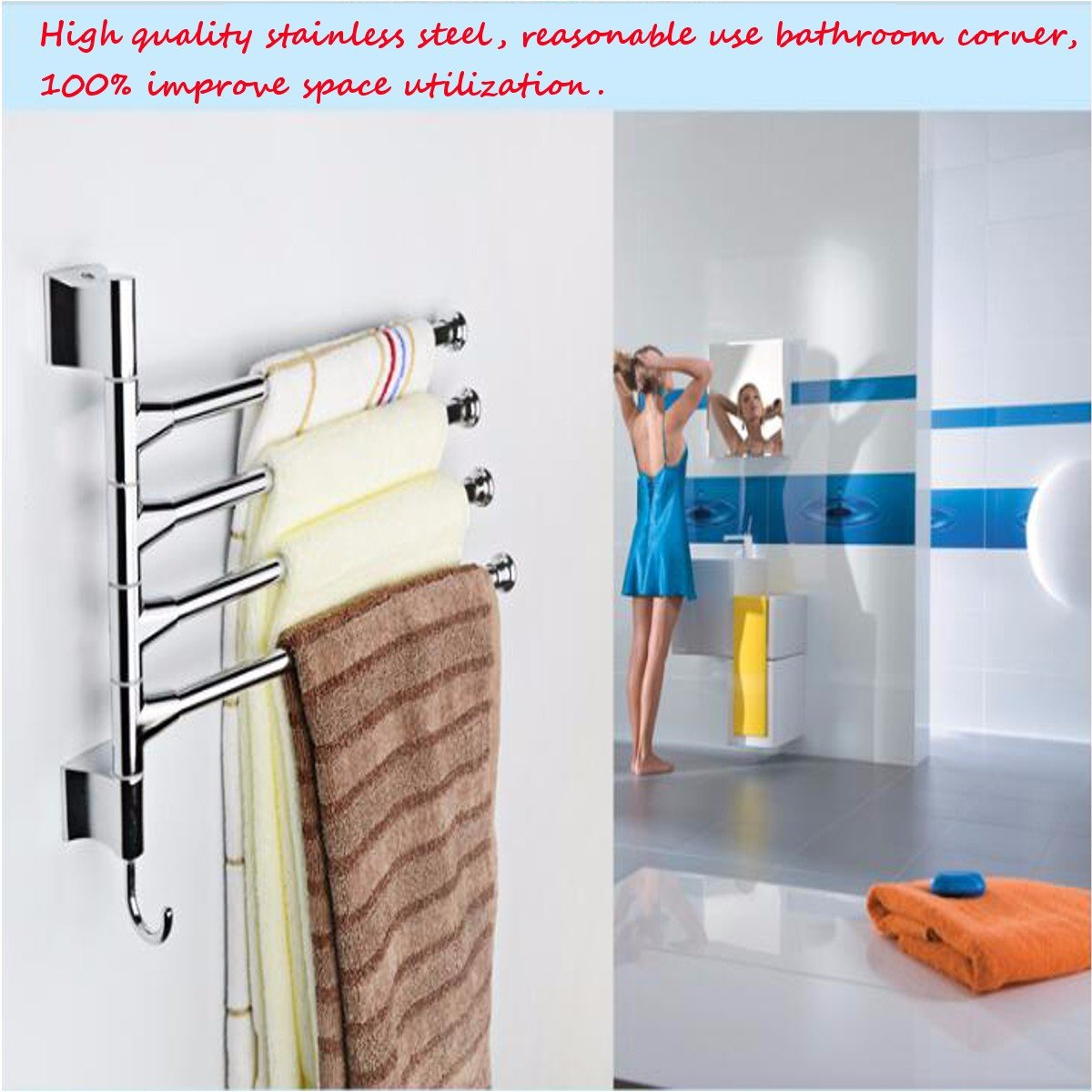 Vivona Hardware & Accessories Bathroom Kitchen Wall Mounted Rotating Towel Rack Storage Hold by Vivona (Image #6)