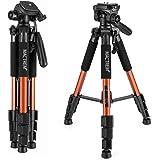 Mactrem PT55 Travel Camera Tripod Lightweight Aluminum for DSLR SLR Canon Nikon Sony Olympus DV with Carry Bag -11 lbs(5kg) Load ( Orange)
