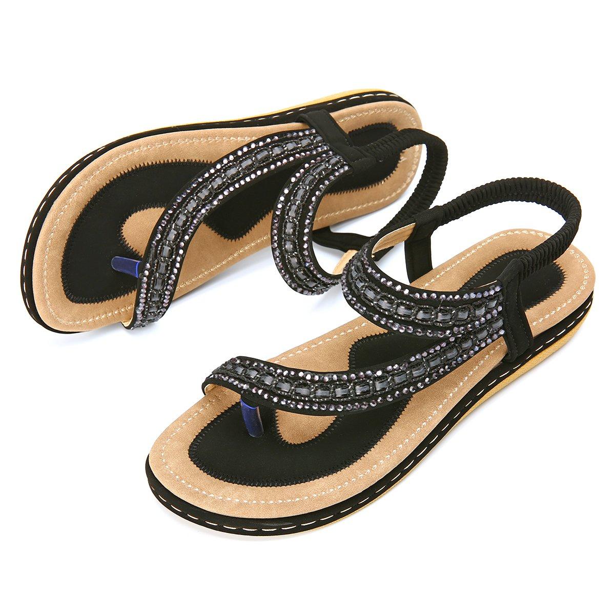 Women's Summer Flat Sandals Bohemian Rhinestone Outdoor Casual Flip Flops Beach Thong Anti-Slip Shoes Black 8 B(M) US