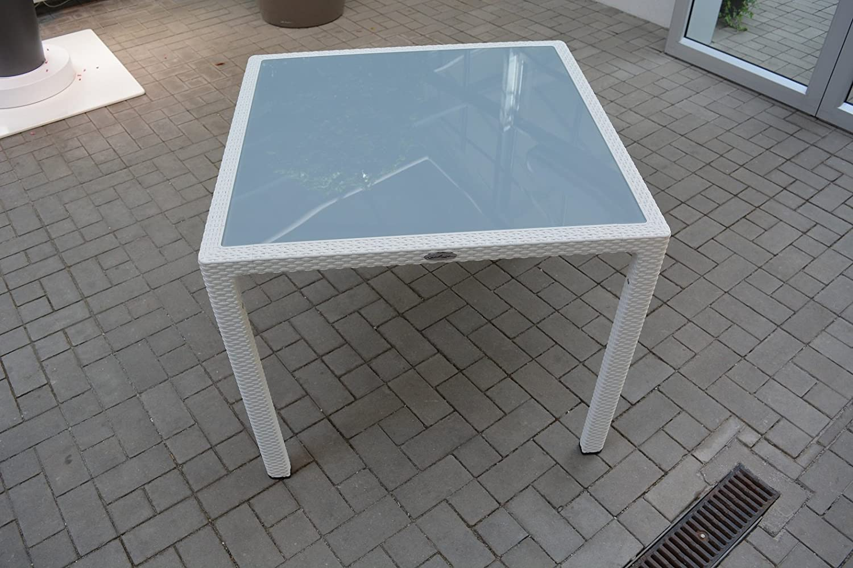 Gartenmöbel WEIß 5er-SET 90x90cm Lechuza Tisch (Glasplatte) & 4 Stühle NEU
