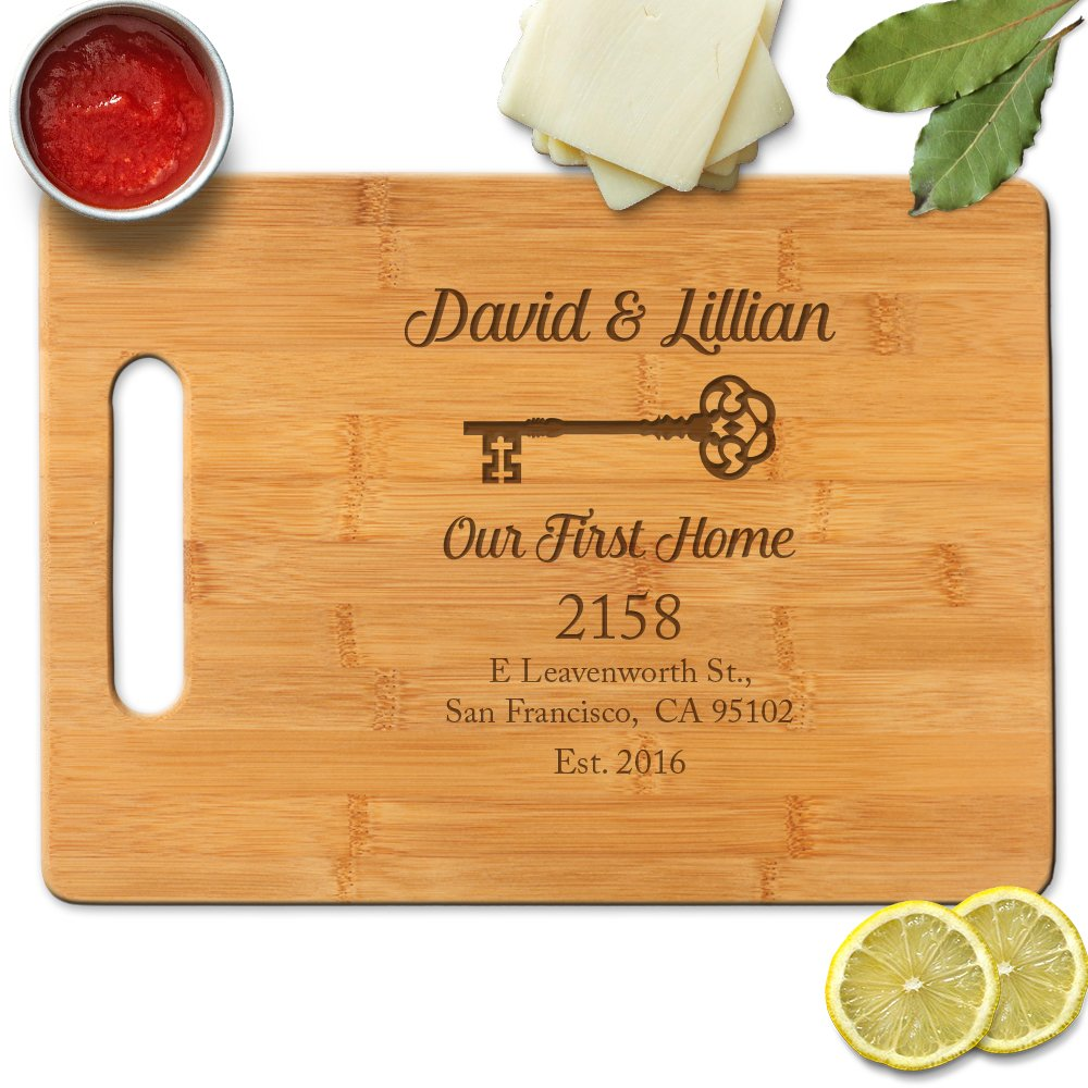 Froolu Our First Home Address Engraved Custom cutting board for First Time Home Owners, Realtors Closing Gifts