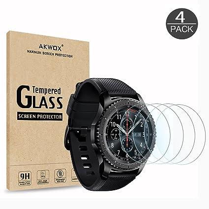 AKWOX [4 Unidades] Protector de Pantalla para Gear S3 Frontier/Classic [9H Dureza] Cristal Vidrio Templado para Samsung Gear S3 (1.3 Inch) Cristal ...