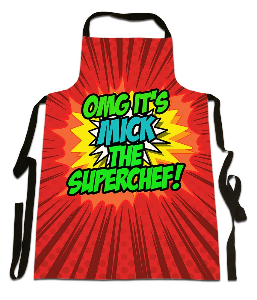 OMG It's Mick The Superchef!', Personalised Name, Funny Comic Art Style Design, Canvas Apron,, Size 25in x 35in approximately Fresh Publishing Ltd