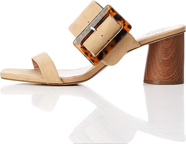 Marque Amazon find. Large Buckle Block Heel Sandal, Sandales Bout ouvert femme