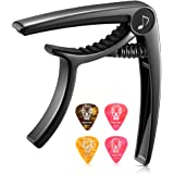 Donner Guitar Capo for Electric and Acoustic Guitar DC-2, Ukulele Capo Black with 4 Picks