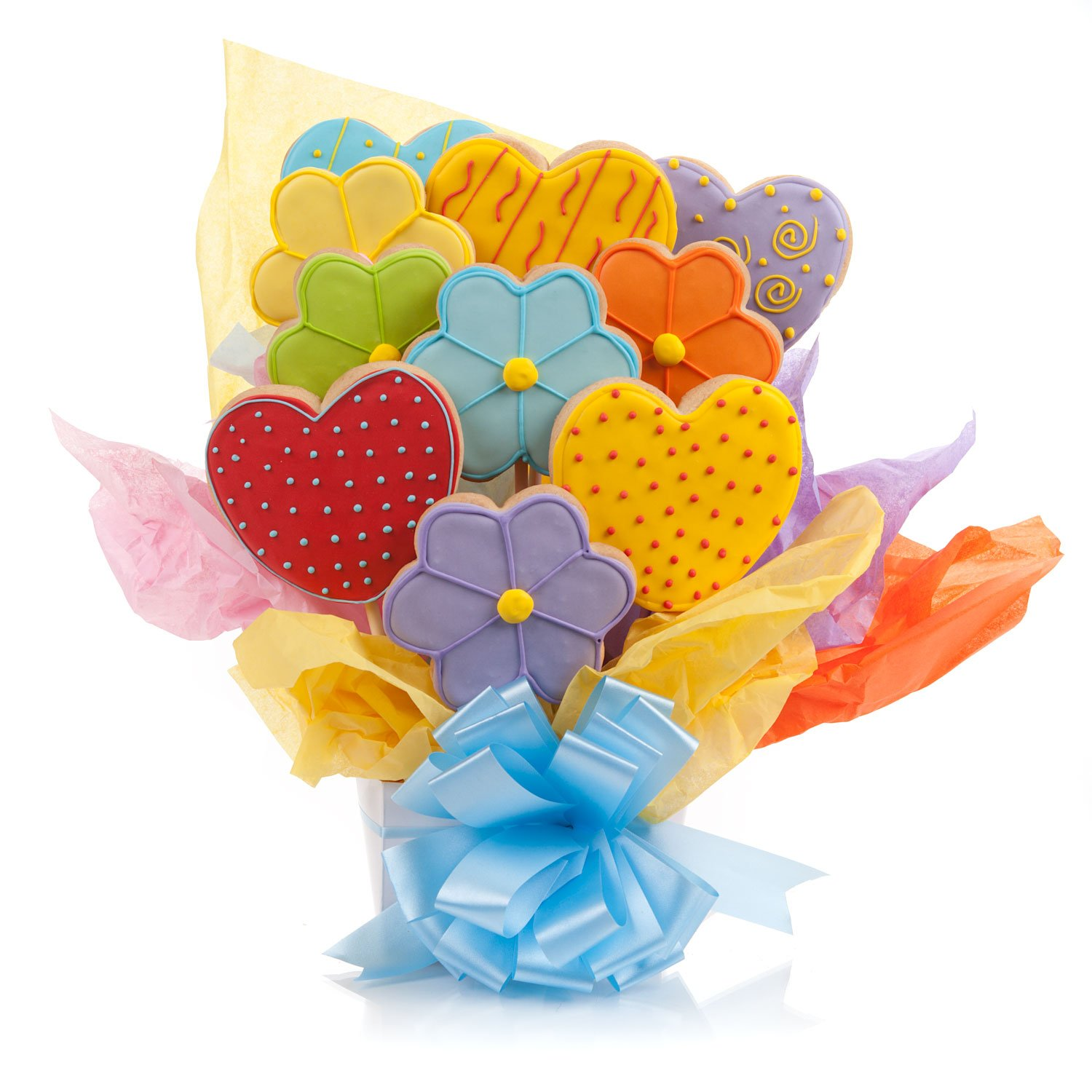 Amazon.com : Daisies & Hearts Cookie Bouquet- 9 Pc Bouquet : Gourmet ...
