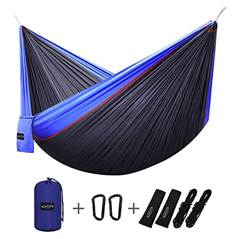 g4free double camping hammock   portable high strength hammock   lightweight blend color nylon fabric parachute amazon    g4free double camping hammock   portable high strength      rh   amazon