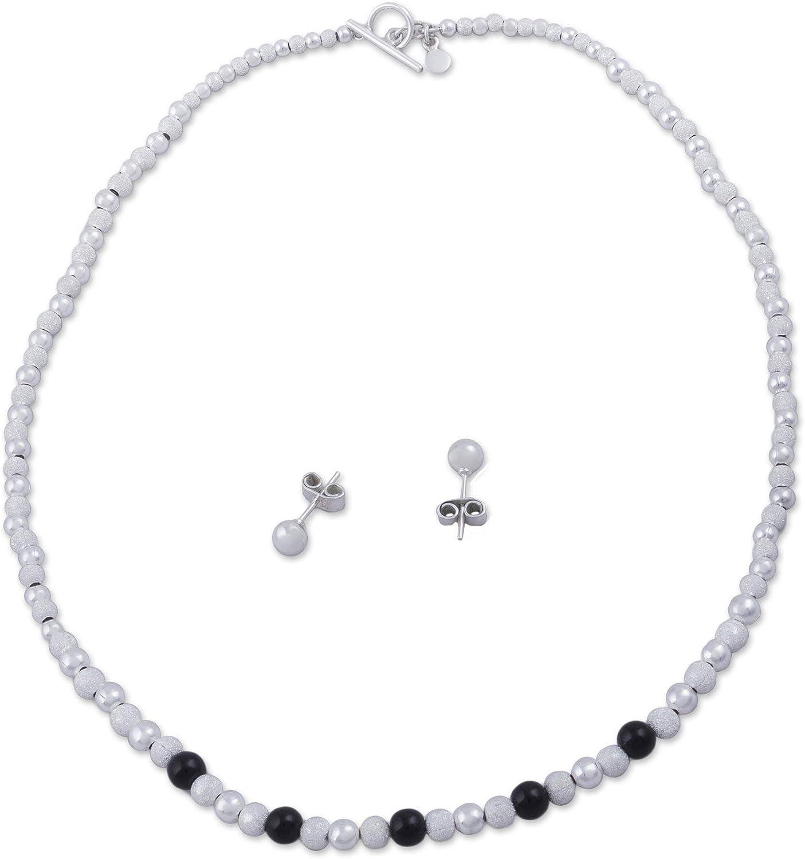 NOVICA Obsidian .925 Sterling Silver Beaded Jewelry Set Dark Treasures