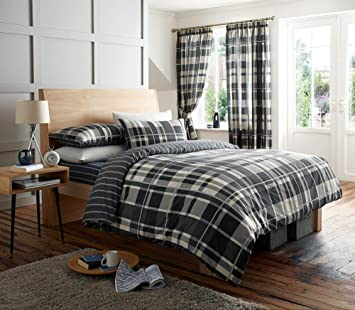BLACK & CHARCOAL CHECK DOUBLE BED SET WITH MATCHING CURTAINS 66 x ...