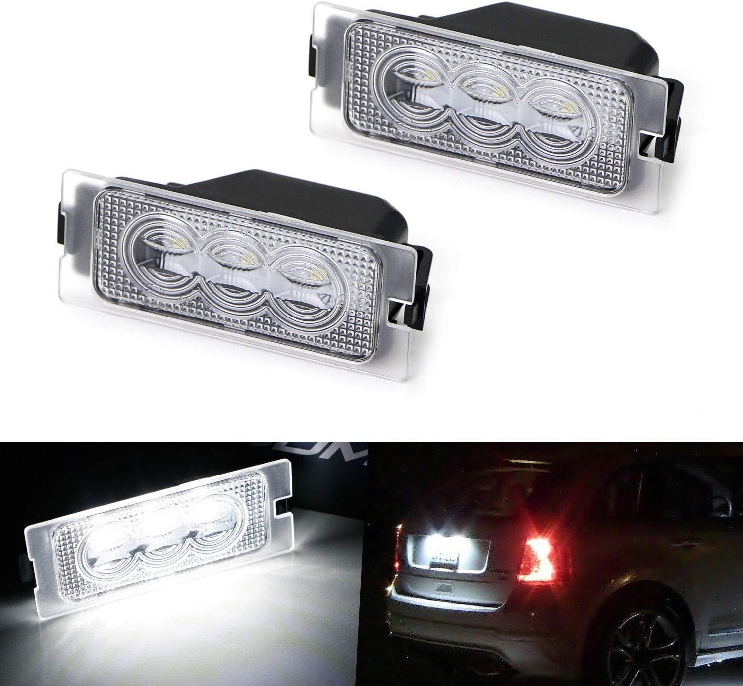 2X White LED License Plate Light Lamp Assembly Replacing OEM for Escape SUVs