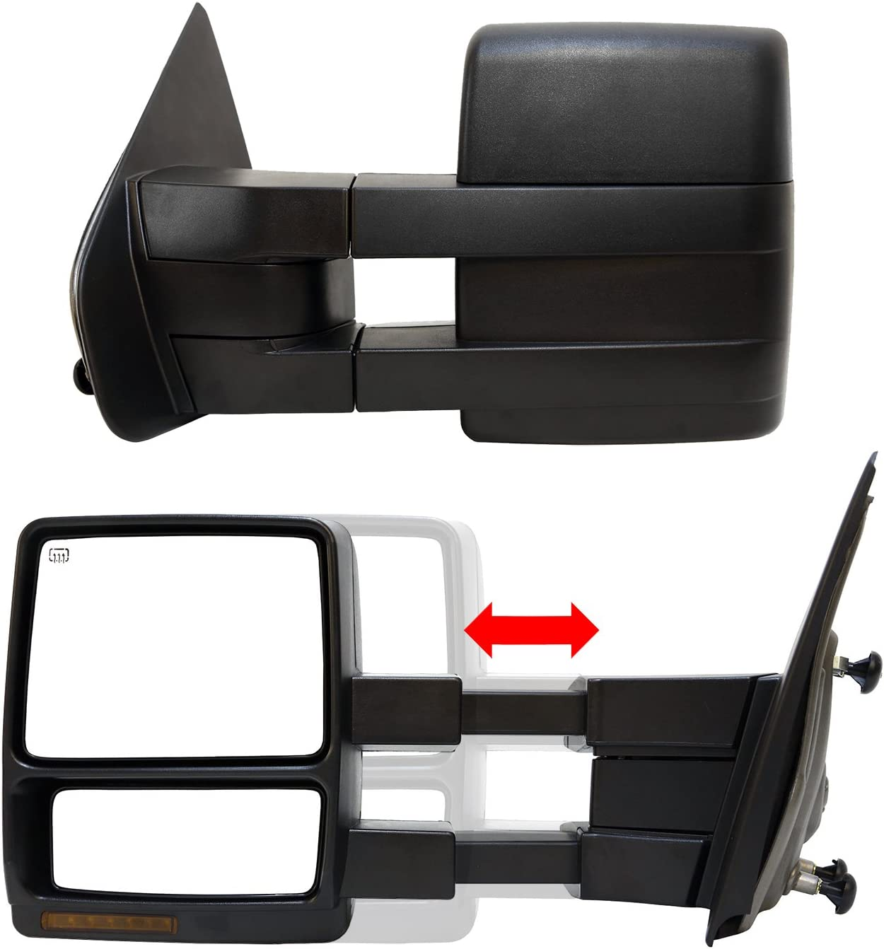 Black Pair Set Heated Turn Signals Puddle Lights Paragon Telescopic Towing Mirrors for 2007-14 Ford F150 Powered