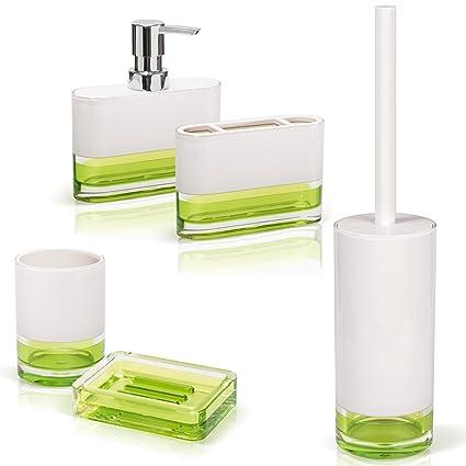 Tatkraft Topaz Green Bathroom Accessories Set Of 5 Soap Dish