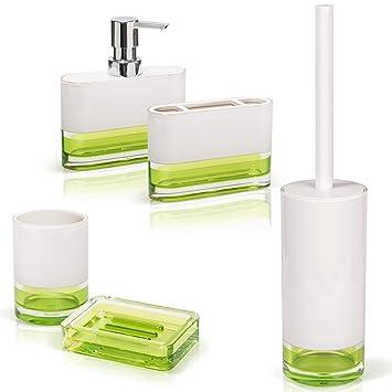 Tatkraft Topaz Grün Badezimmer Set aus 5: Seifenschale, Zahnbürstenbecher,  Zahnputzbecher, Seifenspender, Toilettenbürstenhalter
