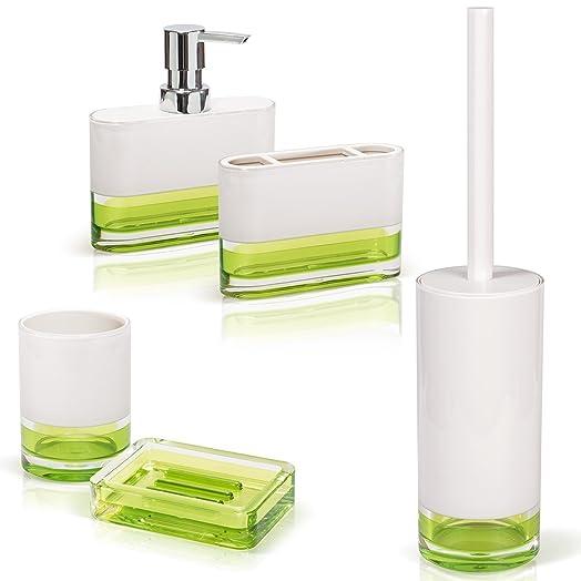 Tatkraft Topaz Green Bathroom Accessories Set Of 5 Soap Dish Bath Tumbler