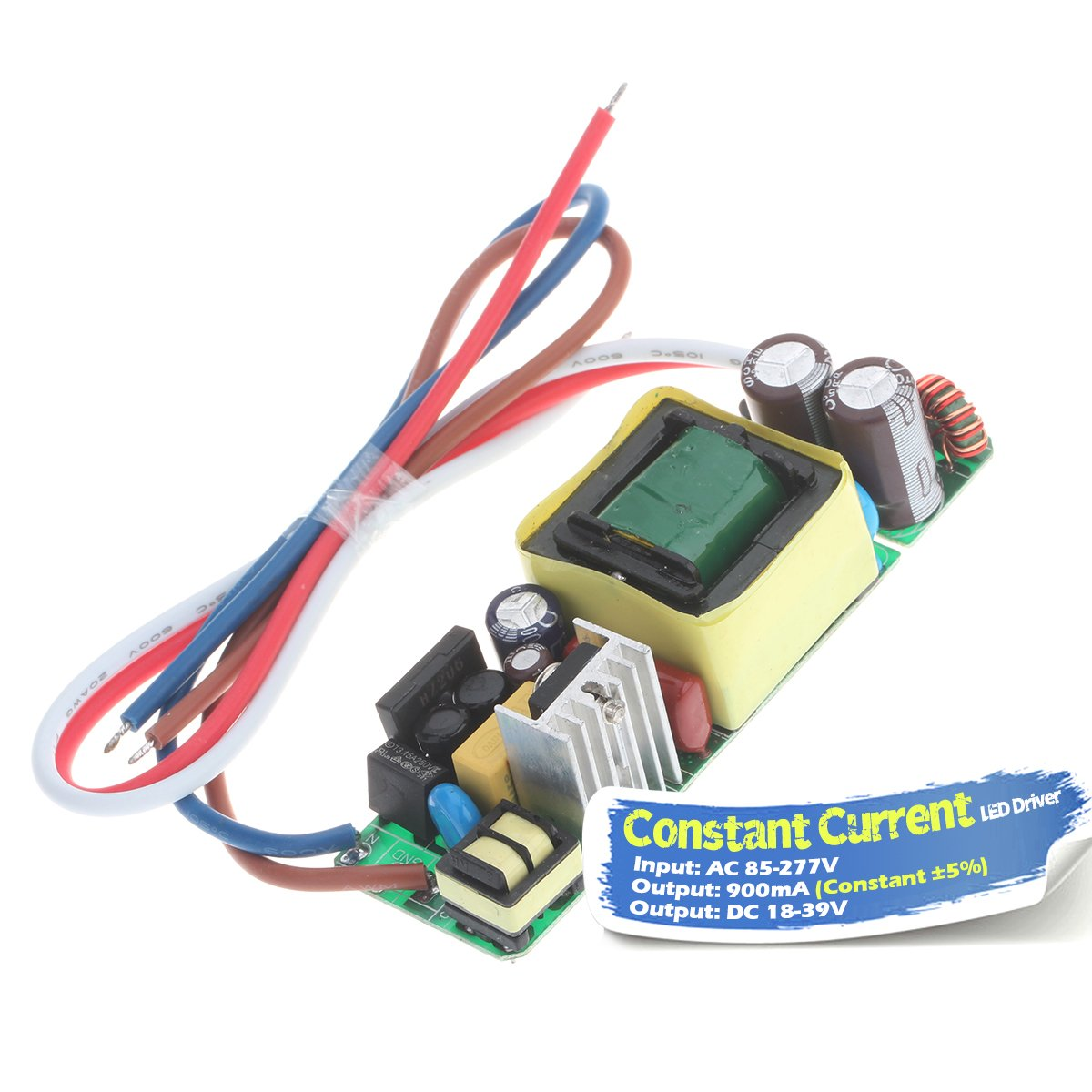Chanzon LED Driver 900mA (Constant Current Output) 18V-39V (Input 85-277V AC-DC) (6-12) x3 18W 21W 24W 27W 30W 36W Power Supply 900 mA Lighting Transformer for High Power 30 W COB Chips (PCB Board)