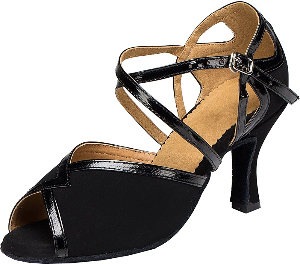 3IN Womens Latin Ballroom Shoes Body Strap Peep-Toe Professional Dance-Shoes 004 Black US Size7