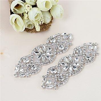 (2 piezas) Rhinestone Applique con Cristales y Perlas para el Vestido Headpieces Bolsas Cinturon